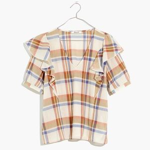 Madewell V-Neck Shoulder-Ruffle Top in Plaid